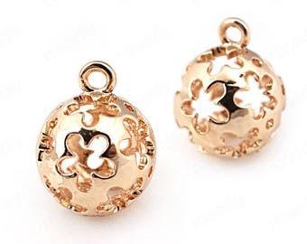 6pcs brass plated gold ball   pendant