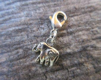 Lucky Elephant Clip-On Charm Tibetan Silver with lobster clasp--zipper pull, charm bracelets, necklace charm zen purse charm boho chic