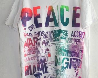 PEACE Anti War Rainbow Colours T-Shirt