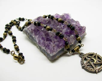 Pentacle and Moon Necklace - Pentacle Pendant Necklace - Crystal Beaded Necklace - Pentacle Jewelry - Moon Jewellery - Moon Necklace