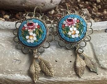 1stDayofSummerSALE Reign Bridal Blue Micro Mosaic Earrings, Artisan Assemblage Jewelry Romantic Renaissance  Wedding