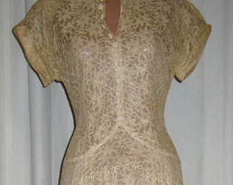 Vintage 1940s Lace Dress, Beige, Taupe Netting, Medium Size
