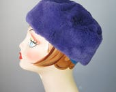 Fur Hat / Vtg 50s / Purpl...
