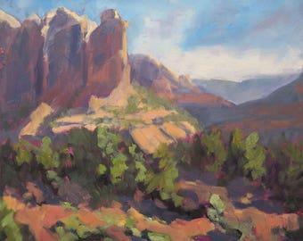 Gazing at Coffee Pot Rock, Sedona - Arizona - Original Oil Landscape Painting
