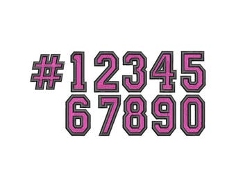 2 Color College Numbers Embroidery Font  - Instant Download