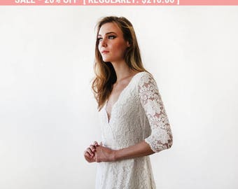 Ivory long sleeves lace wedding gown, Lace bridal gown, Ivory lace wedding empire dress 1124