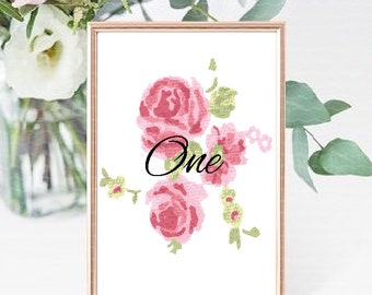 Wedding Table Numbers Country Rose Design