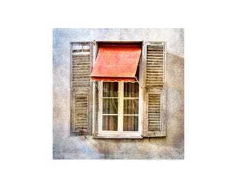 Red Awning Photo, Windows and Doors, Rustic Decor, Weathered Shutters, South of France
