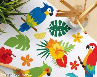 Parrots Clipart - Tropical Birds, Palm Leaves, Beach - vector graphics, digital clip art, digital images, commercial use vector SVG clipart