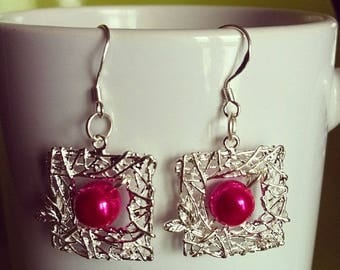 Silver frame twigs and fuchsia Pearl Earrings