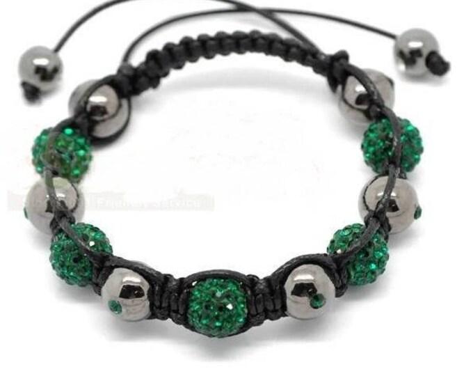 Bracelet adjustable Shamballa beads Hematite and green rhinestones