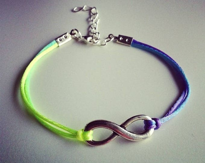 Multicolored neon cord with silver infinity sign bracelet