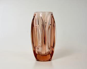 """Large Copper Pressed Glass """"Bullet"""" Vase by Rudolf Schrötter For Rosice Glassworks SKLO Union"""