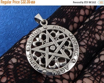 ON SALE Sterling Silver Pentagram Pendant Wiccan Pagan Occult, Free Shipping Worldwide!