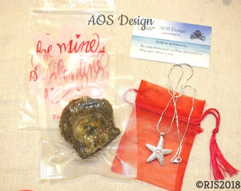 Valentine's Day Special - Akoya Oyster Pearl and Starfish Pearl Cage Pendant, COA included perfect gift