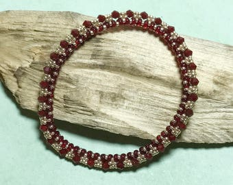 Red Beaded Bangle Red Gold Bracelet Seed Bead Bracelet Red Gold Bangle Red Beaded Bracelet Beadwork Bracelet Beadwoven Bracelet