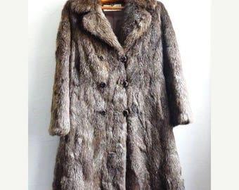 Sale 70 % Off Vintage GENUINE FUR COAT,  French, Long, Brown Coat. Authentic Fur by Roger Gerko in Paris.