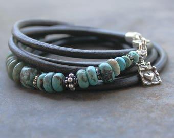 Turquoise boho Bracelet - Triple wrap bracelet turquoise, silver jewelry beaded bracelet, journey jewelry, Turquoise Trail yoga jewelry
