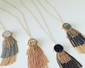 SALE Round Druzy Tassel Necklace, Bohemian Tassel Necklace, Druzy Statement  Necklace