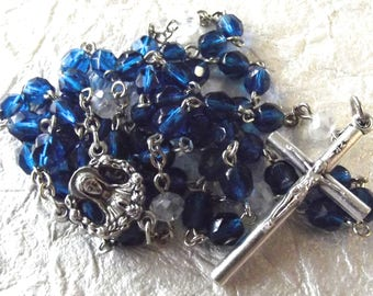Blue Crystal Catholic Rosary