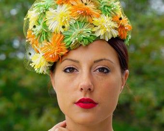 Vintage Floral Pillbox Hat, Toque Hat With Flower, 1950s Floral Hat, Vintage Millinery,  Vintage Hat, Pillbox Hat, Bucket Hat, Flower Hat