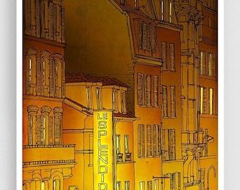 30% OFF SALE: Golden night - Paris illustration Art illustration Mixed media illustration Art Prints Posters Paris decor Architectural illus
