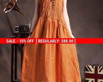 SALE! Linen Dress ,ruffle Linen Dress In Orange , Linen Cocktail Dress,long Linen Sundress , Loose Tunic Dress, Line Gown, Xl,xxl, Plus