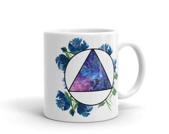 Watercolor Flower Galaxy Geometric Mug