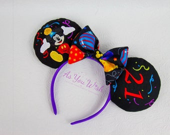 Custom made Happy Birthday Mouse Castle princess prince fireworks Ears celebration inspired