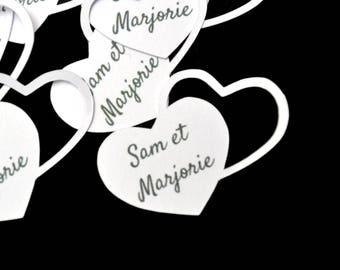 lot 10 customizable wedding or christening heart tags