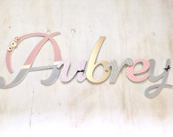 Girl's Room Letters Gold Pink - Baby Girl's Nursery Letters - Girl's Room Decor - Custom Wood Letters - Nursery Letters - Price Per Letter