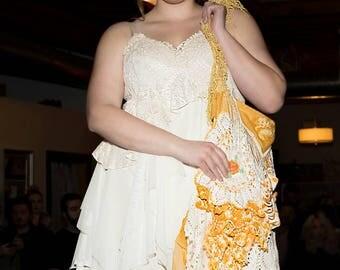 Eco friendly,  Upcycled Bohemian shabby chic alternative full figured, plus size  wedding dress