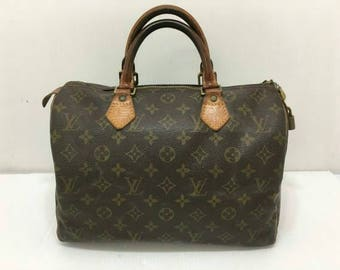 Louis Vuitton monogram speedy 30 bag lock and key mini vtg