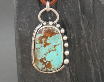 Turquoise Necklace, Turquoise Jewelry, Sterling Silver Turquoise Necklace, Metalwork Jewelry