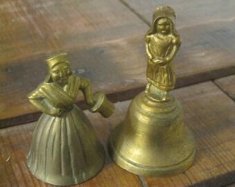 Brass Lady Bells , Dinner Bells , Collectible Bells