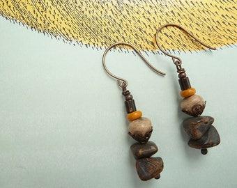 Jewellery, Earrings, Beaded Earrings, Brown and Yellow Earrings, Rustic Boho Earrings, Earthy Bohemian Earrings, Yellow Brown, Dangle Drop