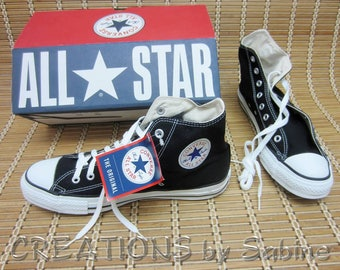 Converse All Star Chuck Taylor Shoes Mens 10.5 Womens 12.5 Black Chucks Cons Authentic USA Hitops High Tops New Vintage FREE SHIPPING (646)