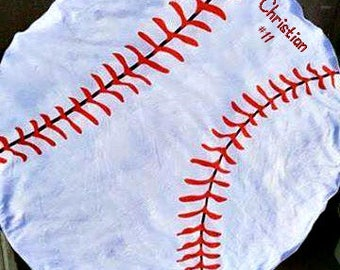 Personalized Round Beach Sports towels/ Baseball/Softball/Team Sports/ Coaches Gift/ Mom Gift/ Dads Gift/ Birthday Gift/Christmas gift