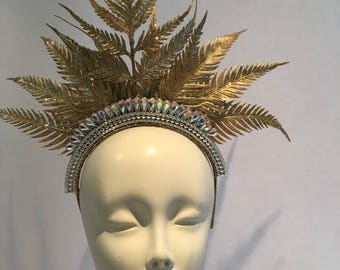Gold headdress -Gold Crown- Goddess headpiece -Goldleaf Headpiece -Floral Headdress- Rhinestone Headpiece- Boho- Music Festival -Queen