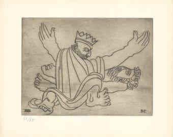 Ben-Zion-Gilgamesh Bemoans the Death of Enkidu (XXVIII)-1966 Etching