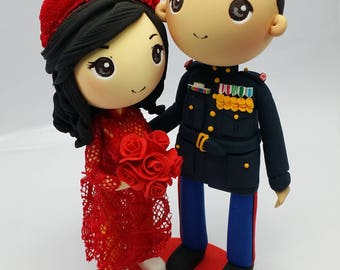 US Marine and Ao dai Vietnam traditional wedding costume wedding cake topper clay doll,engagement clay miniature, bridal shower clay figure