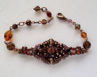 Brown Rhinestone Bracelet. Vintage Style Jewelry for Her. Rhinestone Jewelry Accessories Gift Ideas. Dark Colors Brown Bracelet. Jewelry Box