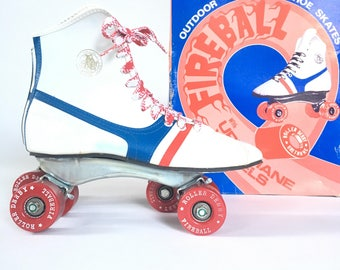70s official roller derby skates, fireball outdoor shoe skates, urethane wheels, original laces, size 7