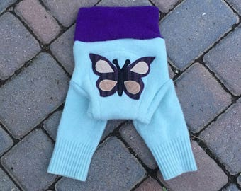 Wool Soaker Cover, Diaper Cover, Longies, Wool Pants - Butterfly Longies - Size Medium
