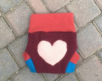 Cloth Diaper Cover, Wool Soaker, Shorties, Cloth Nappy Cover - Burgundy with a Heart Applique - Size Medium