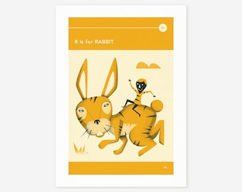 R is for RABBIT (Giclée Fine Art Print/Photo Print/Poster Print) by Jazzberry Blue