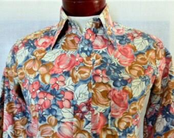 vintage 70's Montgomery Ward floral print big collar disco shirt pink blue brown water color print long sleeve shirt rose jasmine slim small