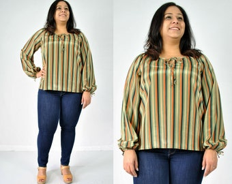 1970s Striped Peasant Blouse