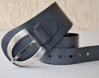 Wide Leather Belt Genuine Hips Grey 80s Disco Women Vintage Leather Belt