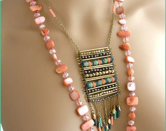 Necklaces/necklaces - Turquoise, green, salmon. Mother of Pearl, Crystal, chain and pendants